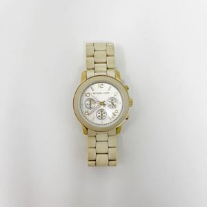 Michael Kors Two Tone Stainless Steel Watch Cream